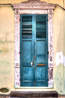 NOLA Teal Shuter & Solid Chipped Door Weathered Frame